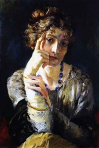 A painting by Fortuny of his wife Henriette, 1915