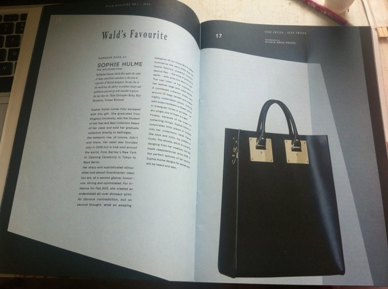 Sophie Hulme article in WALD magazine