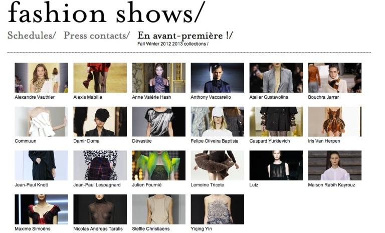 Fédération française de la couture, du prêt-à-porter des couturiers et des créateurs de mode Homepage Screenshot